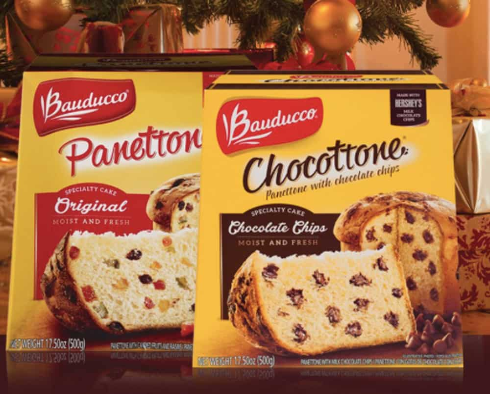 boxes of bauducco panettone and chocottone