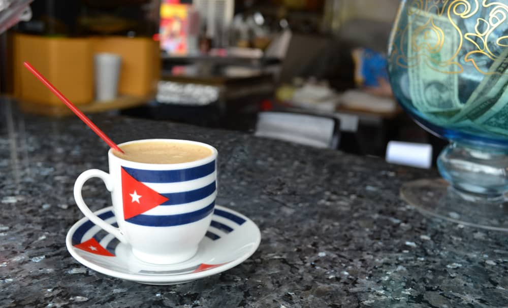Cup of Cuban Coffee with flag