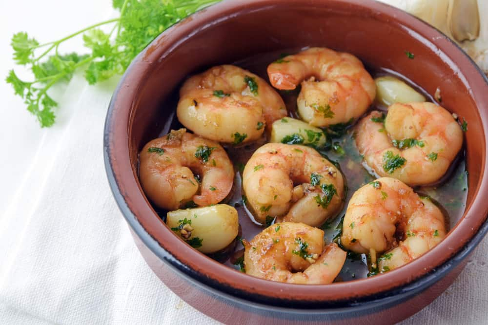 Cazuela of Spanish Gammas al Ajillo Shrimp in Garlic Sauce