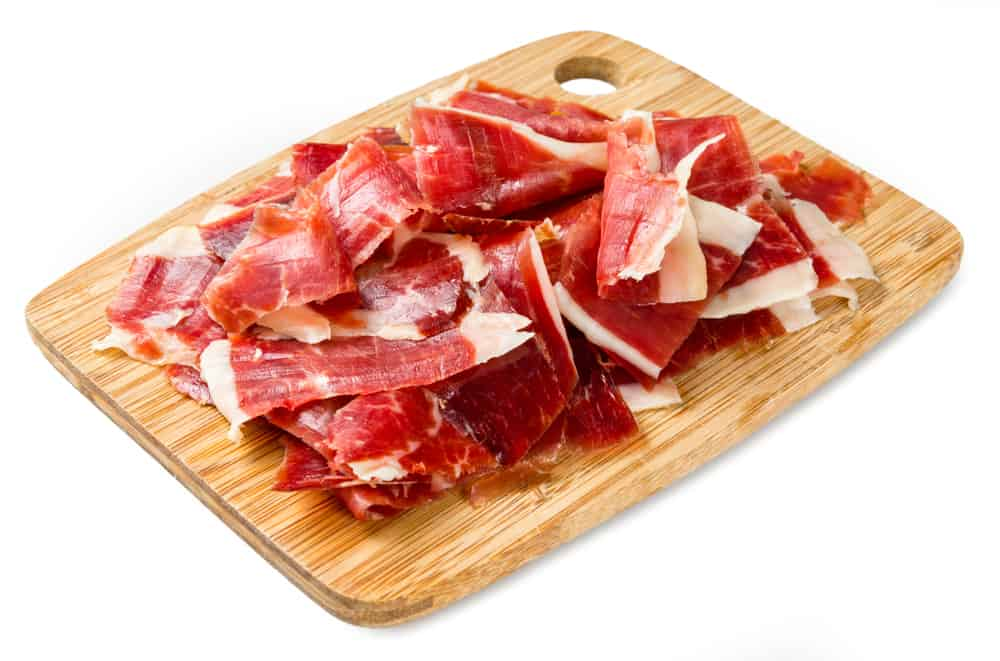 wooden platter of thinly sliced jamon iberico from Spain