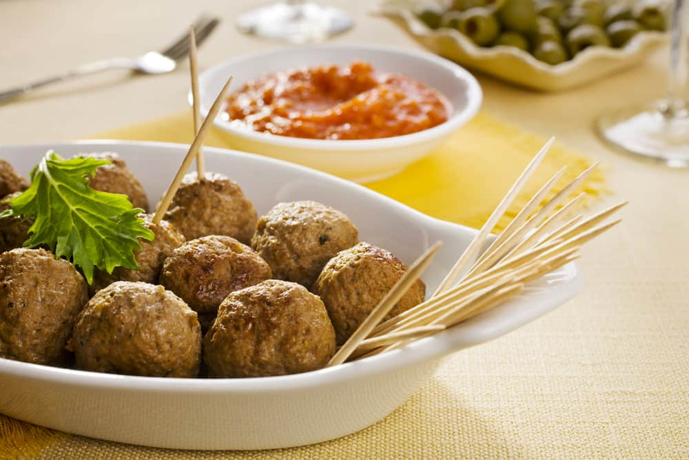 Spanish Meatballs tapas served with toothpicks