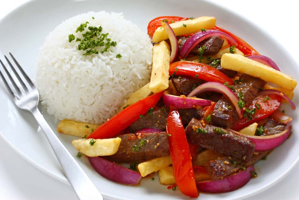 Plate of Peruvian Lomo Saltado and Rice