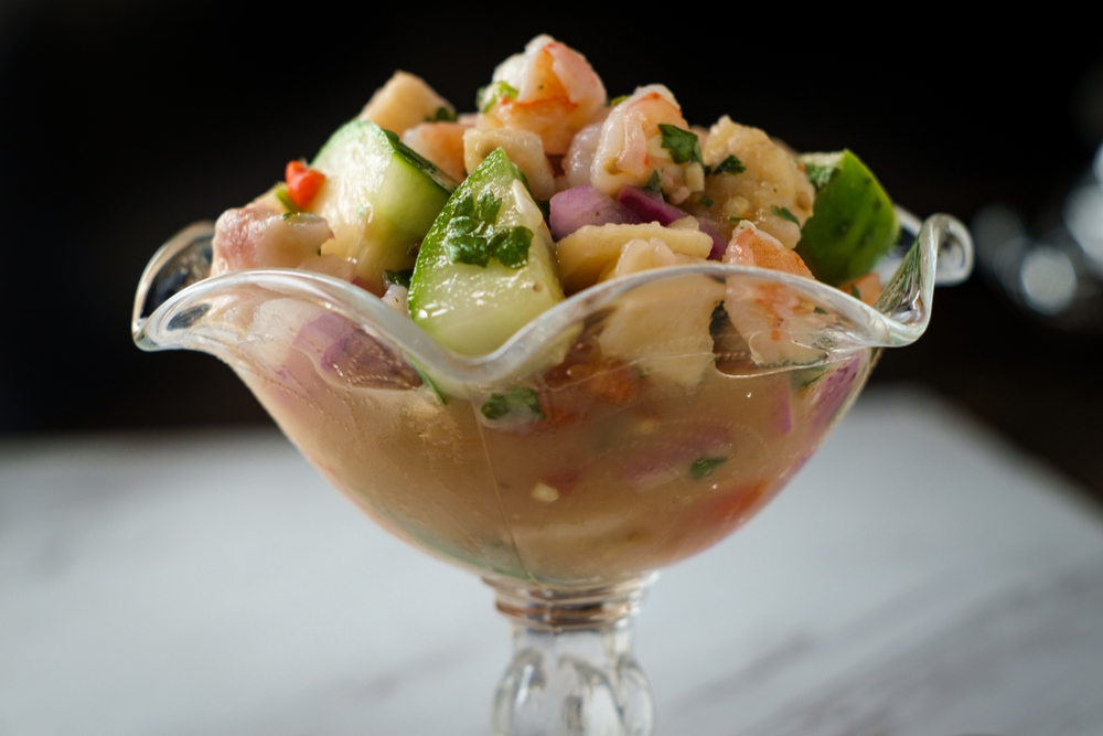 Ceviche served in a glass cup