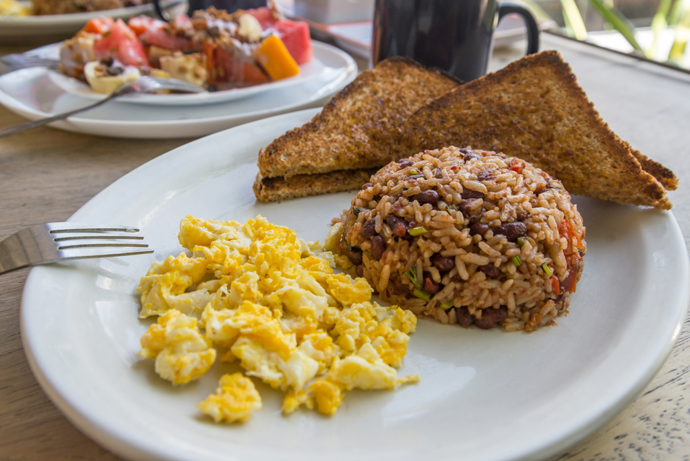 Plate of Gallo Pinto eggs and toast