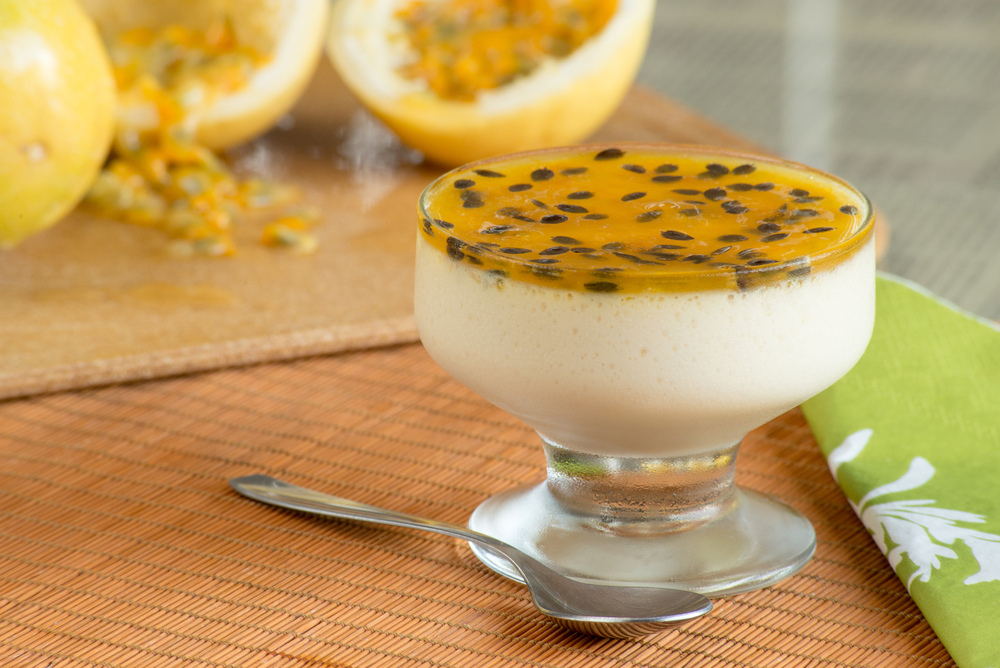 Passion Fruit Mousse in glass cup