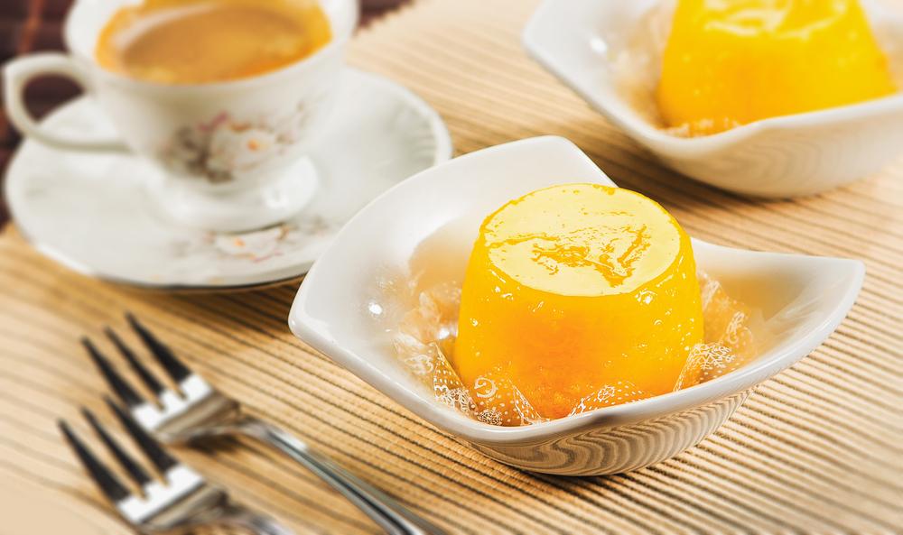 Quindim Brazilian dessert in white bowl