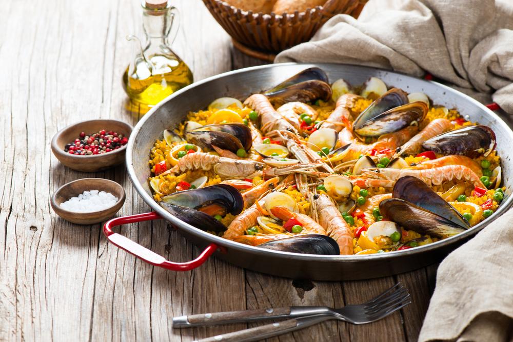 Paella Pan of Seafood Paella