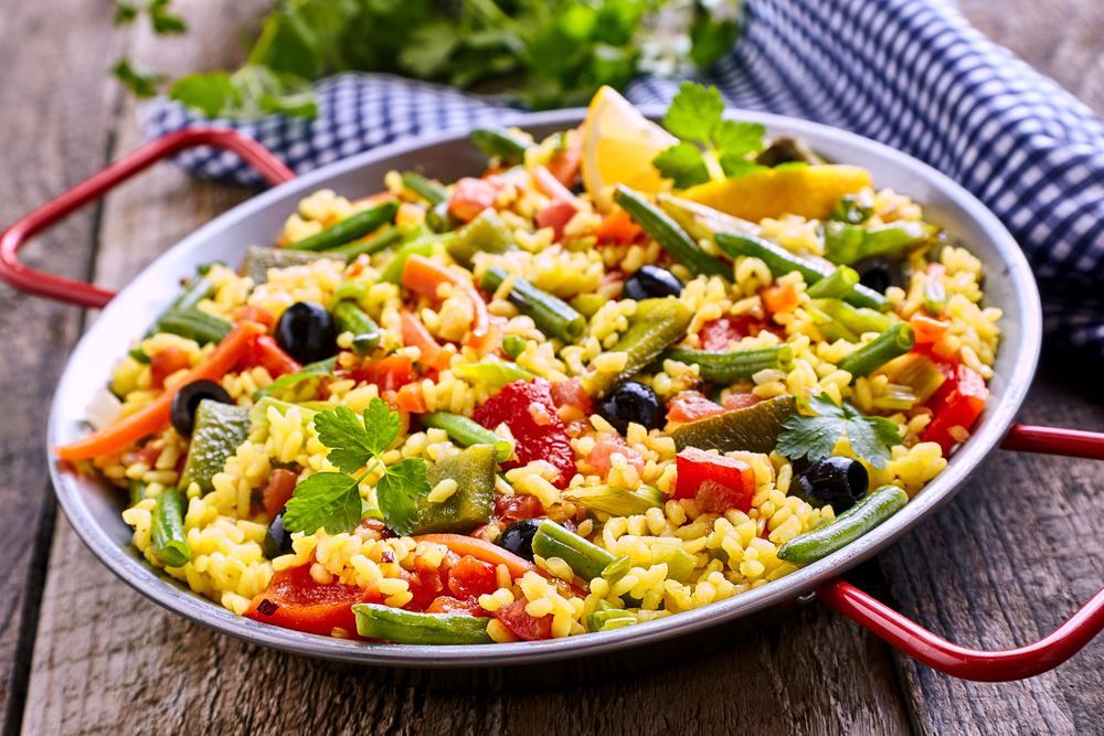 Paella pan of Veggie or Vegetarian Paella