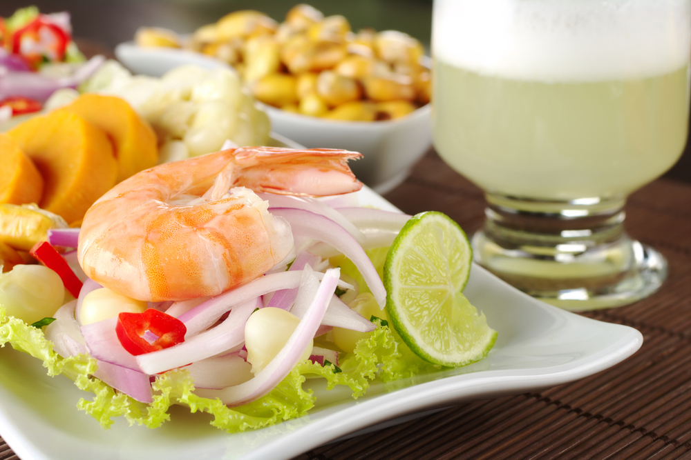 Peruvian Shrimp Cevichewith Pisco Sour and Maiz Cancha