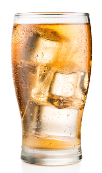 Brazilian Guarana Soda in glass with ice