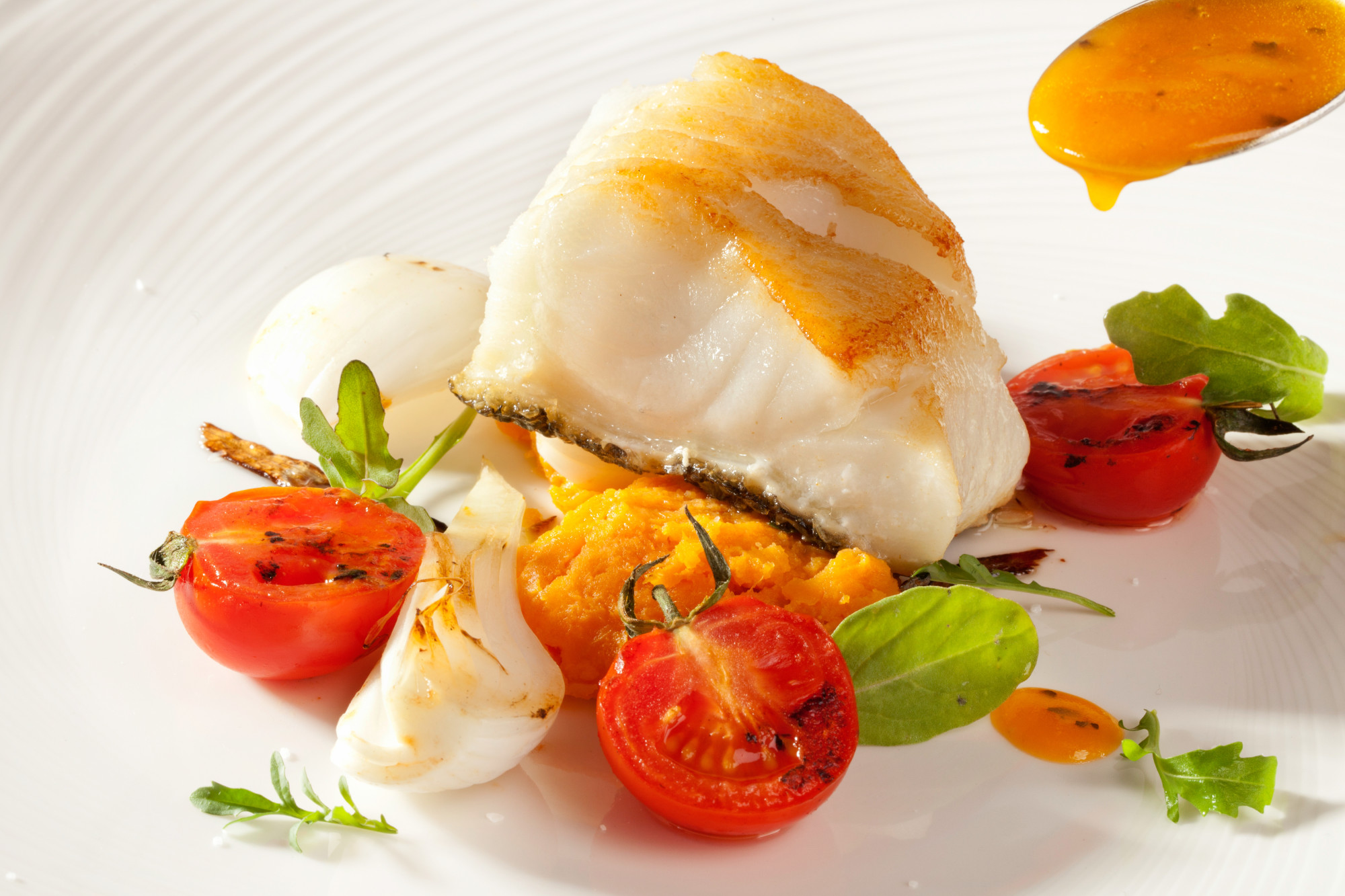 Piece of Chilean Sea Bass on white plate