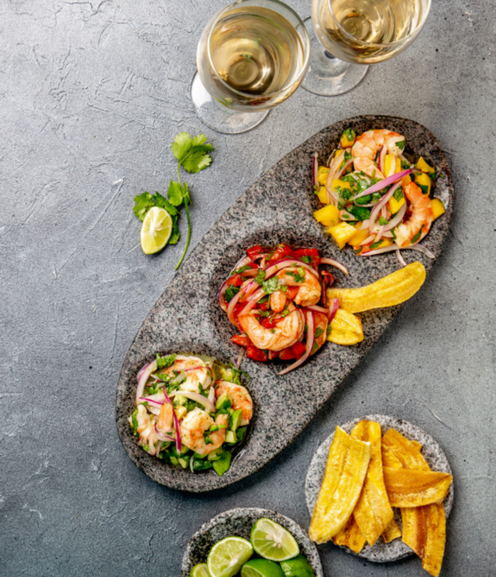 Colombian Ceviche plate with Patacones and Colombian white wine
