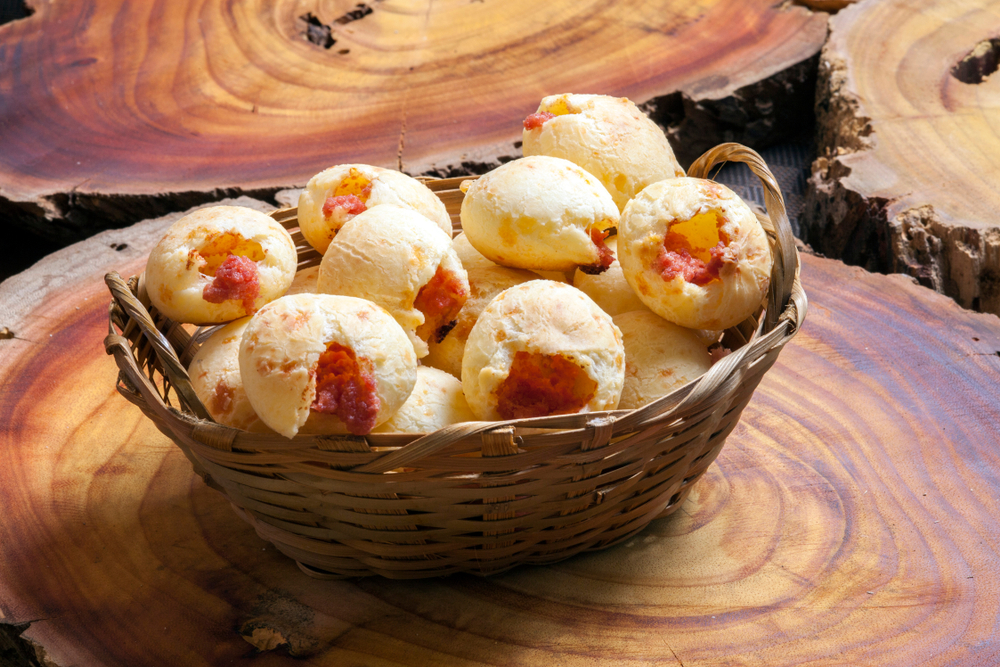 Brazilian Street Food Pao de queijo filled with jam