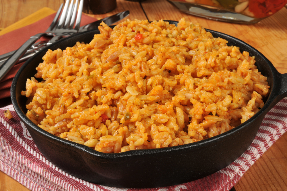 Bowl of spanish rice in a skillet