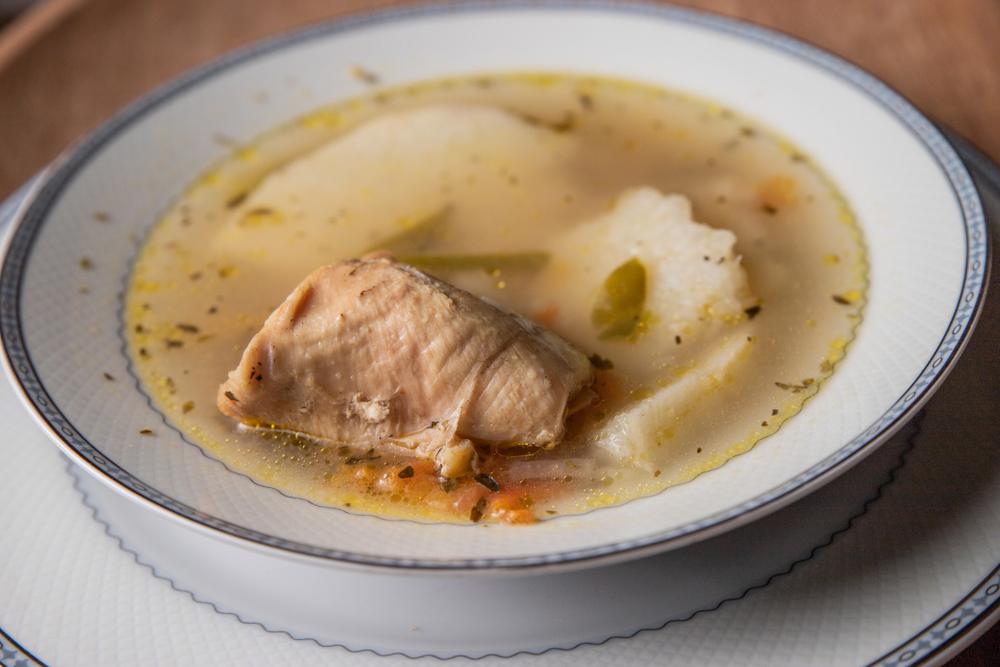 Panamanian Sancocho Soup served in white bowl