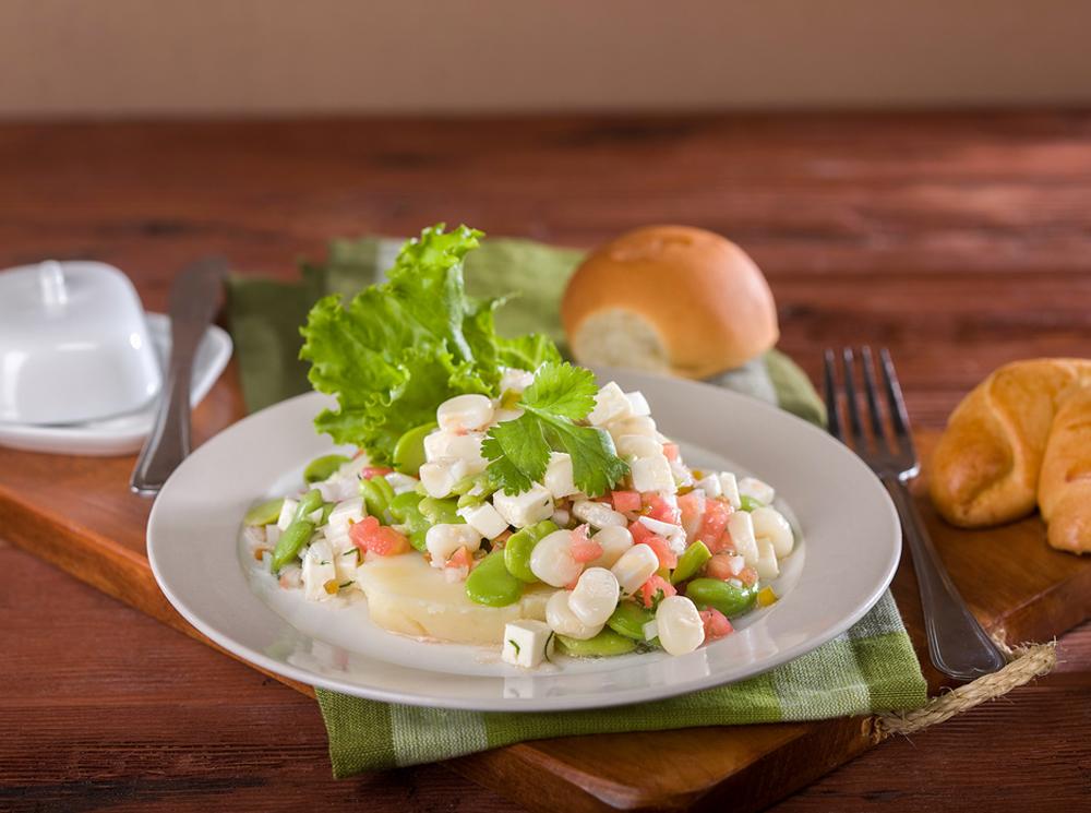 Solterito Peruvian Salad on a white plate