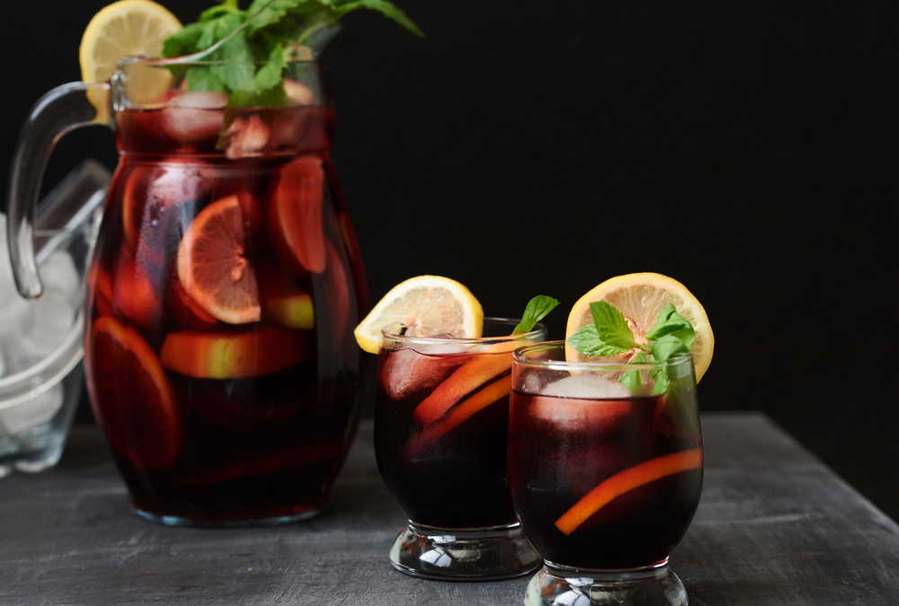 Spanish Sangria with two glasses