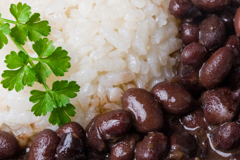 Cuban Christmas Black Beans and Rice closeup