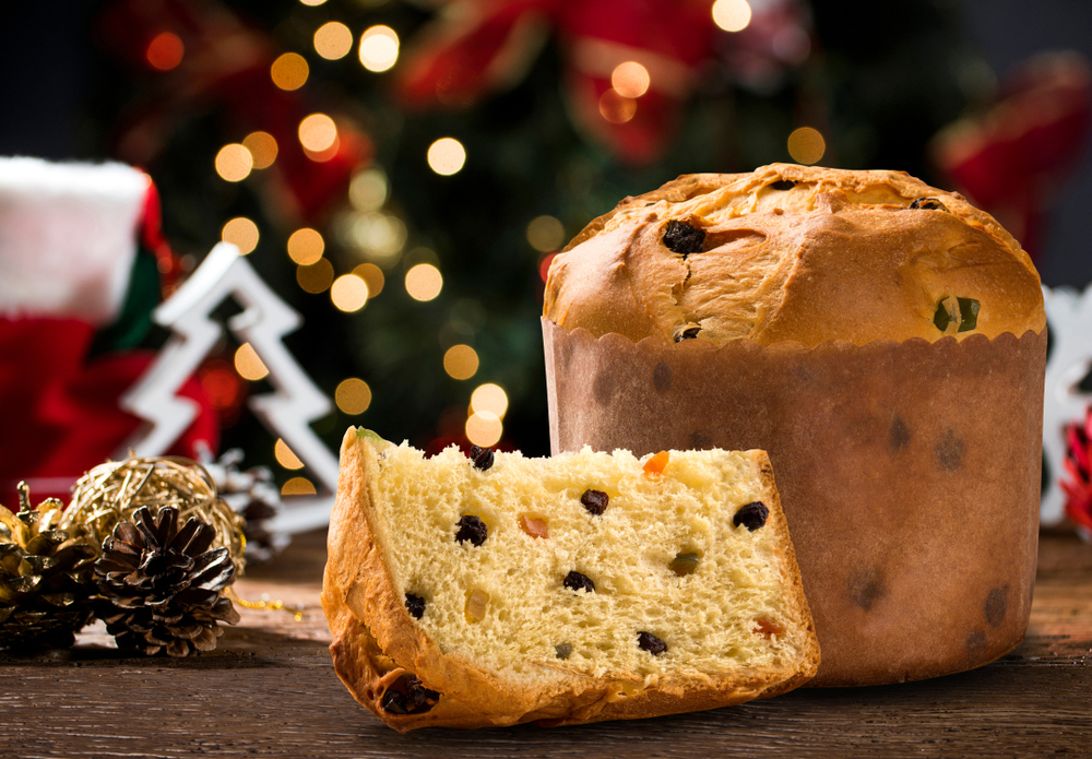 Peruvian Christmas Panettone slice with candied fruits with blurred Christmas lights