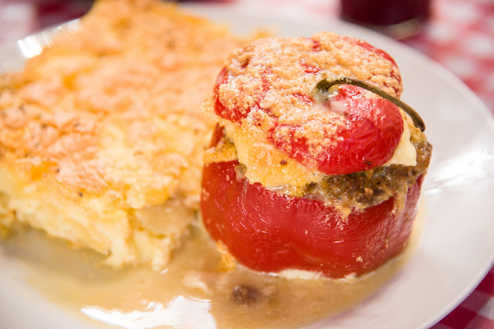 Peruvian rocoto relleno filled with meat and cheese