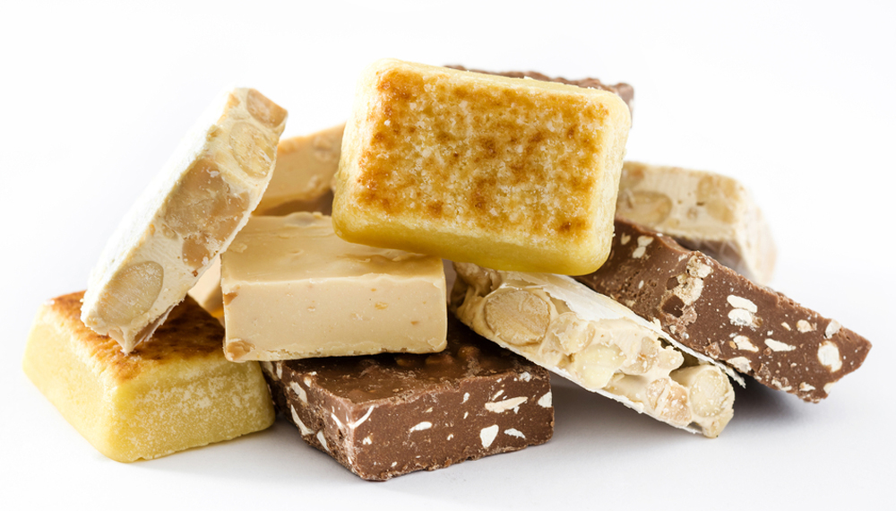 Spanish Christmas Turron Nougat on white background