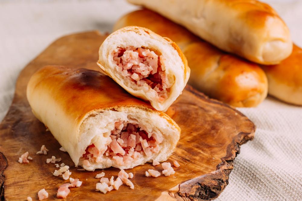 Venezuelan cachitos, breakfast of crescent rolls filled with ham