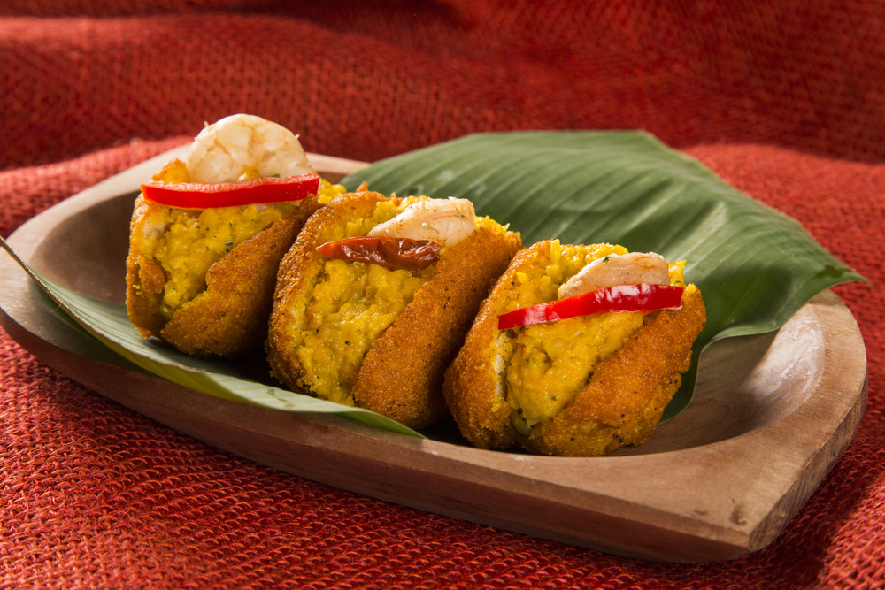 Platter of Brazilian acaraje black eyed fritters