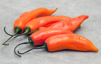 Aji Amarillo peppers on stone table top