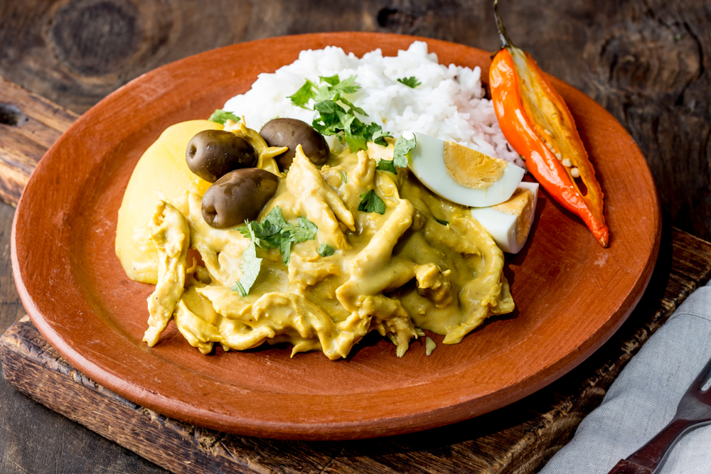 Plate of Peruvian Aji de Gallina Chicken dish