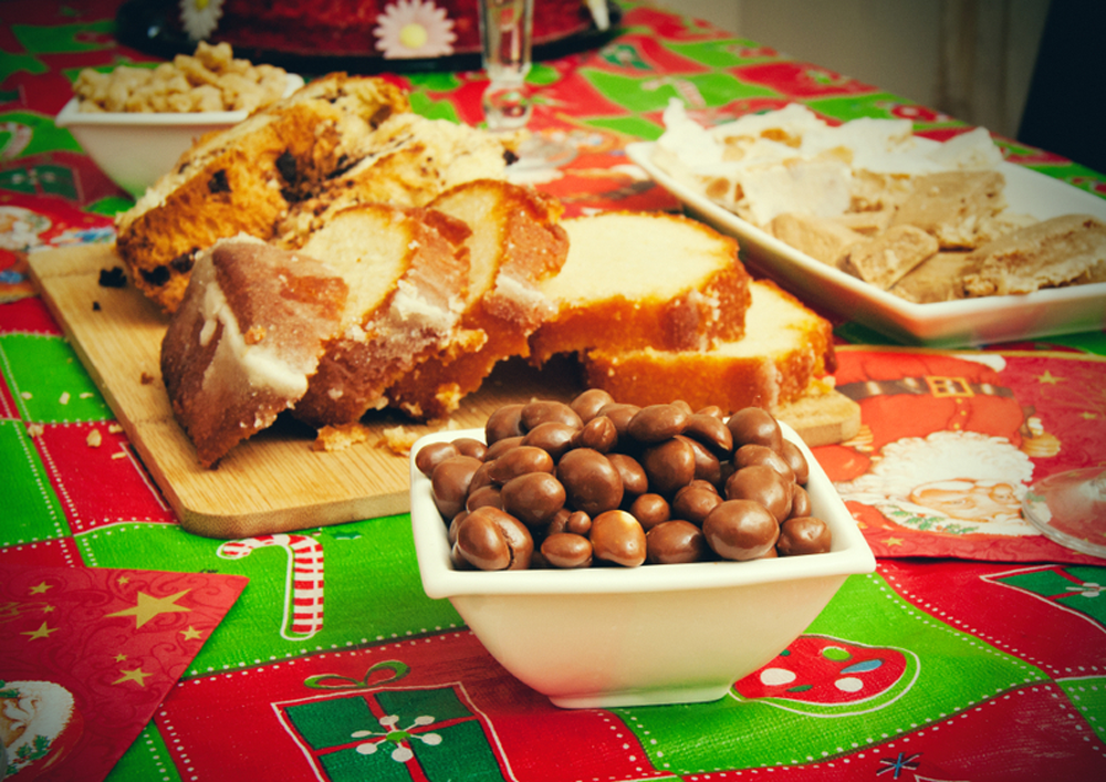 Argentinian Christmas Desserts served on a Christmas dinner table