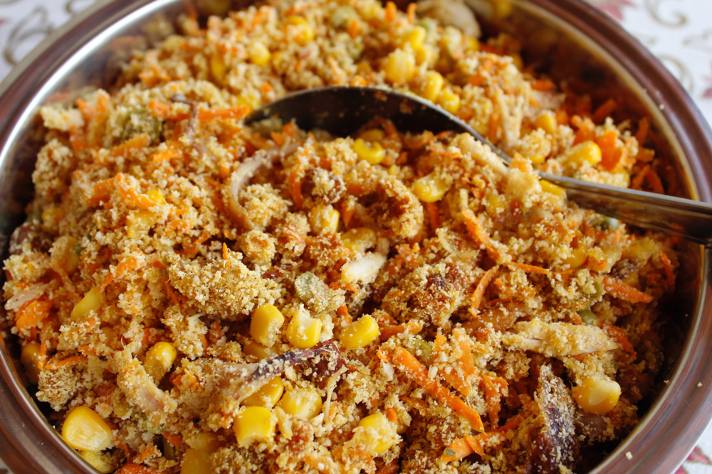 Close up View of Brazilian dish of Far-off