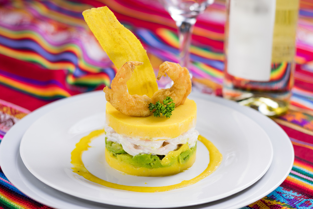 Peruvian Causa Dish served on white plate