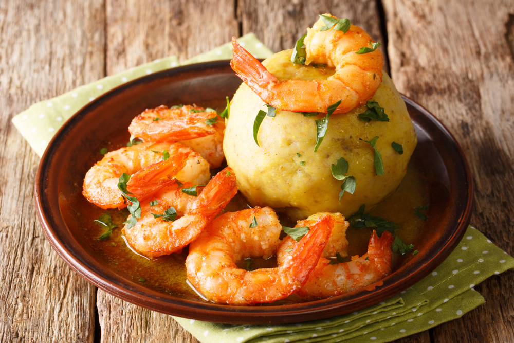 Puerto Rican mofongo dish with shrimp
