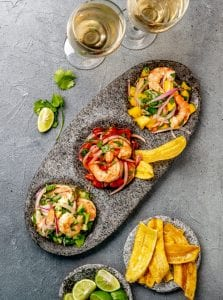 Sauvignon Blanc and Colombian Ceviche on slate table