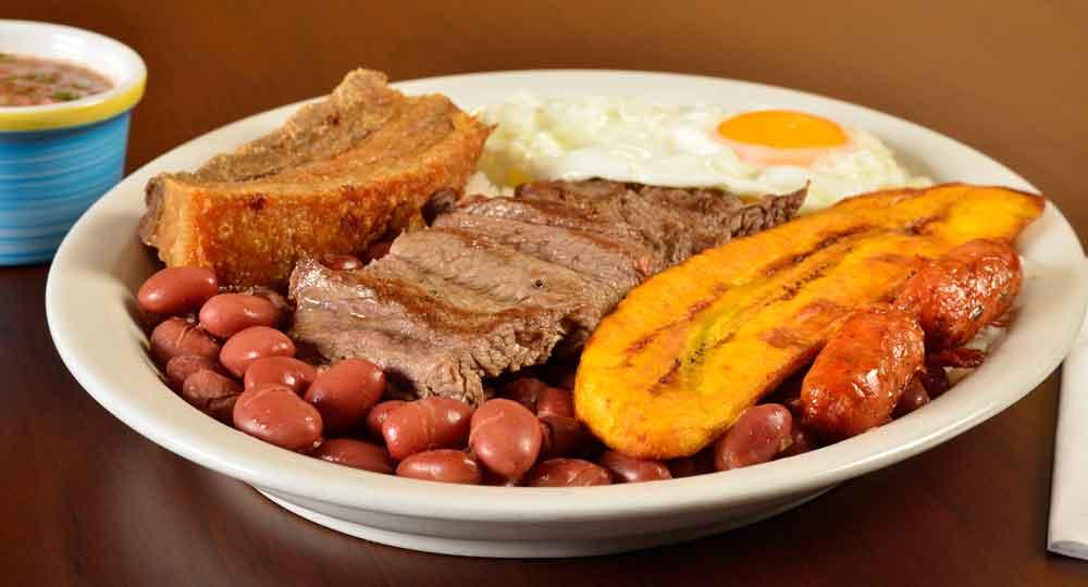A full dish of Colombian Bandeja Paisa