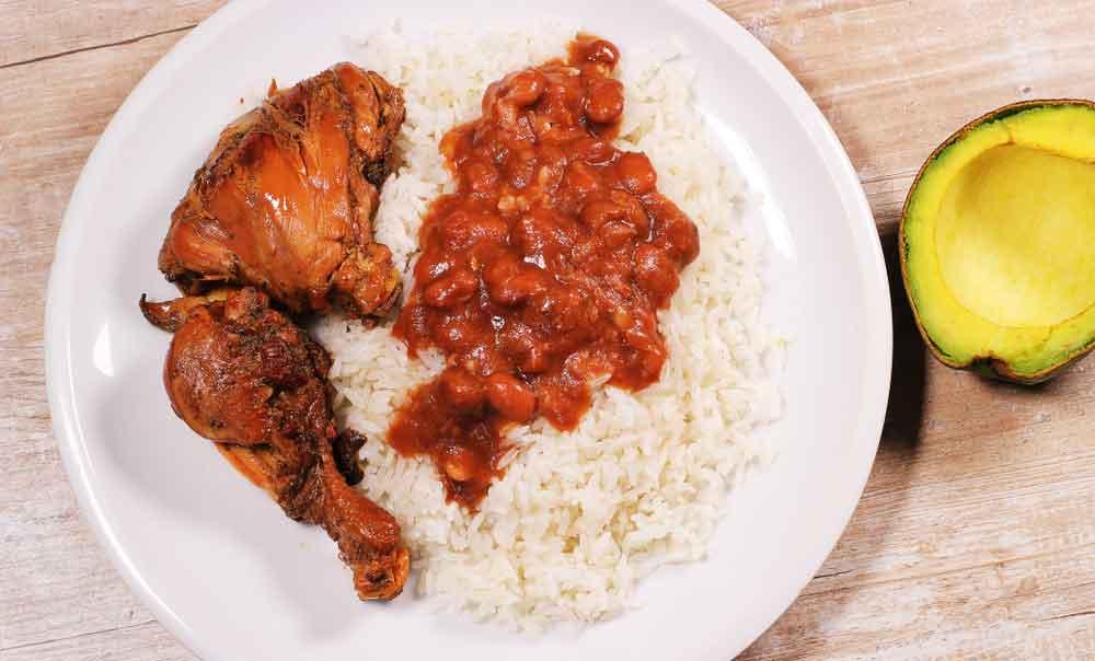 La Bandera, Dominican Repiblic's National Dish served on white plate