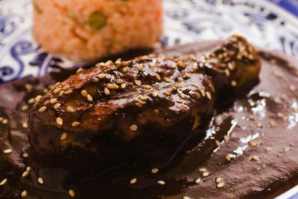 Mole, Mexico's National Dish served over chicken