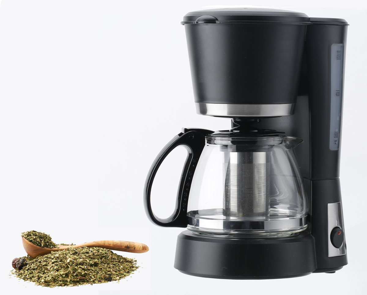Coffee maker and Yerba Mate on white background