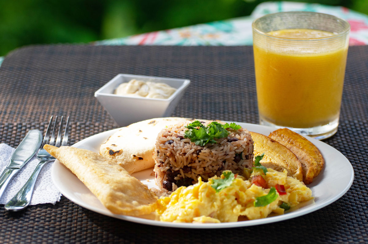 Various Traditional Costa Rican breakfast foods
