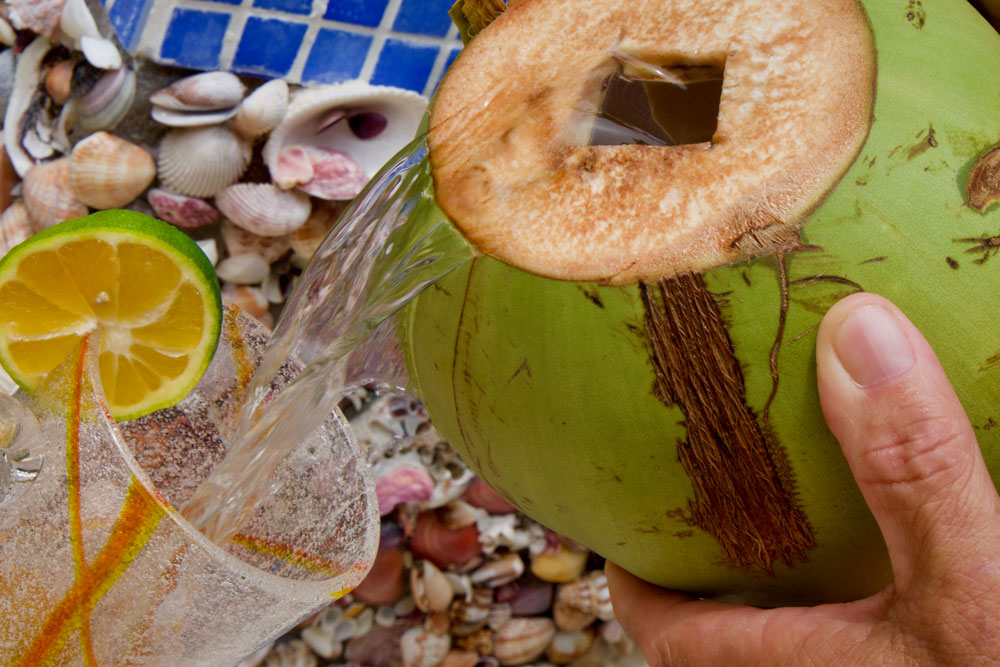 Costa Rican Coconut water called Pipa Fria straight from a coconut