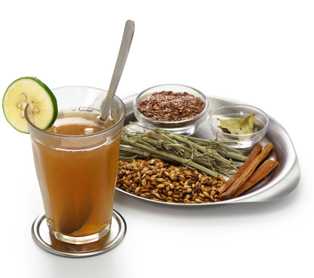 Peruvian Emoliente Breakfast drink with. cancha