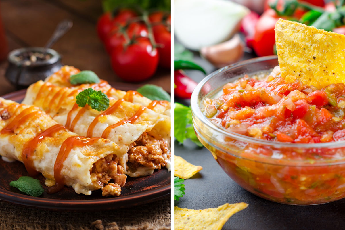 Enchilada Sauce on Enchiladas and Salsa in a bowl