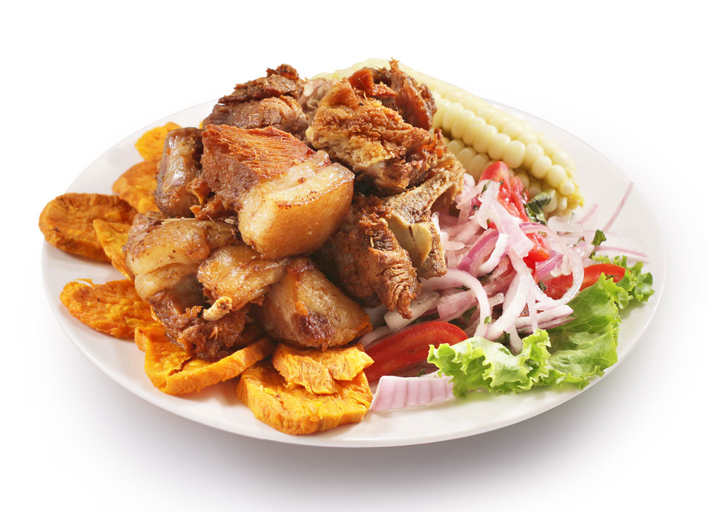 Chicharron de Chancho served with other Peruvian foods