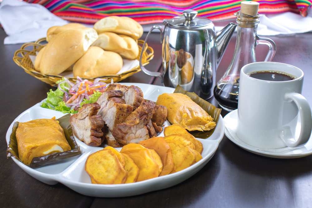 Assorted Traditional Peruvian Breakfast Foods