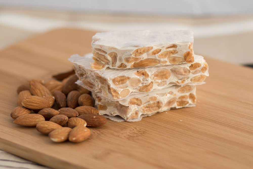 Cut turron alicante with marcona almonds
