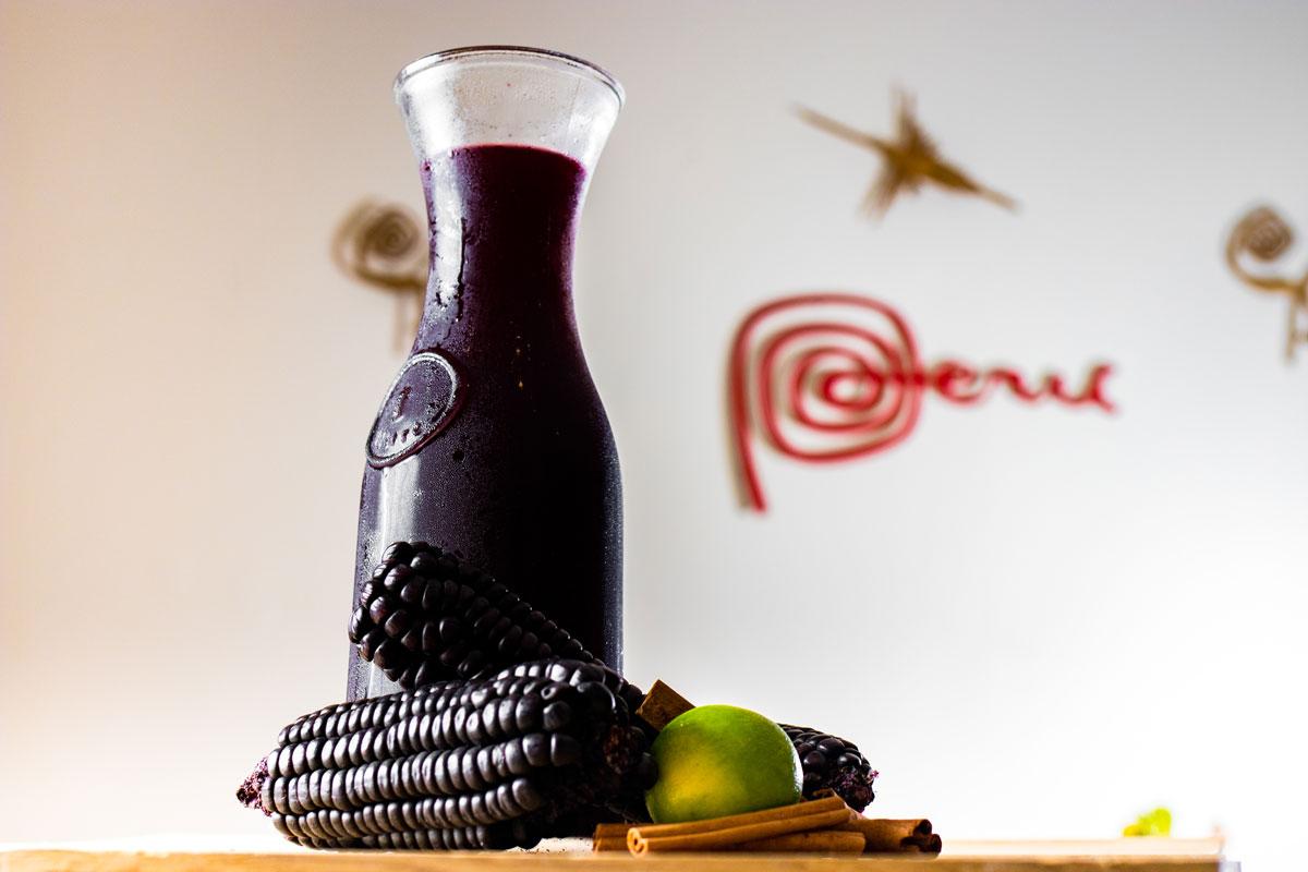 pitcher of Peruvian drink of chicha morada with maiz morado
