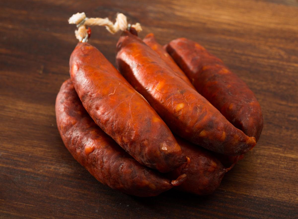 Chorizo, Spanish sausage links tied together