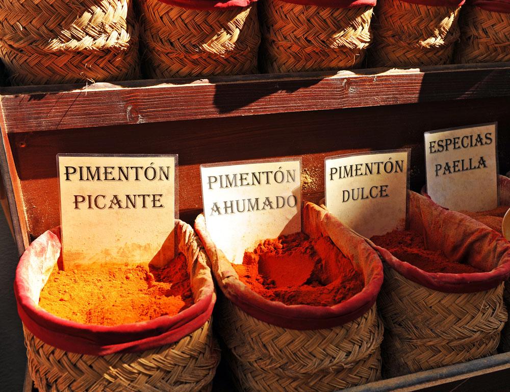 Sacks of Spanish spice Pimenton or paprika used for paella seasoning