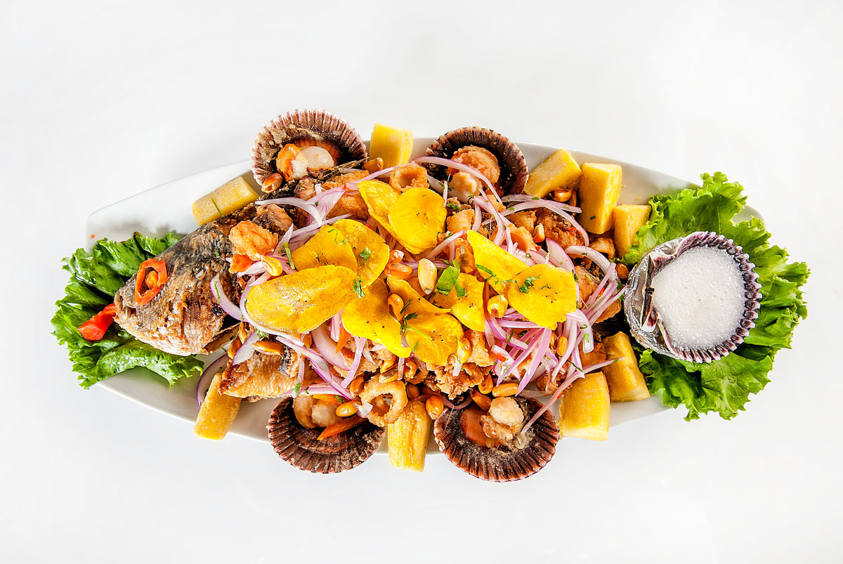 Jalea de Mariscos Peruvian Seafood dish served in the shape of a fish.