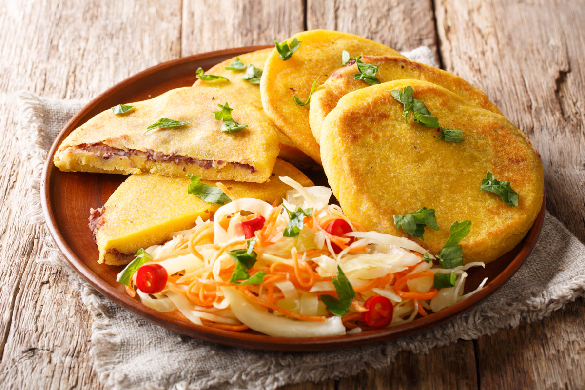 Venezuelan Pupusas filled with assorted savory fillings
